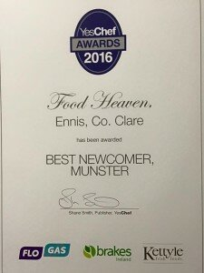 image of YesChef award for best newcomer Munster 2016